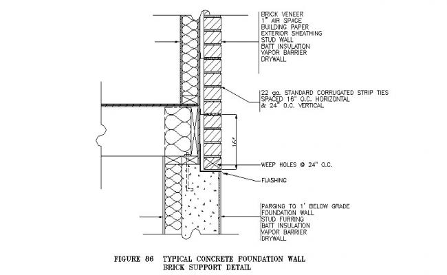 Typical concrete foundation wall brick support construction details dwg file