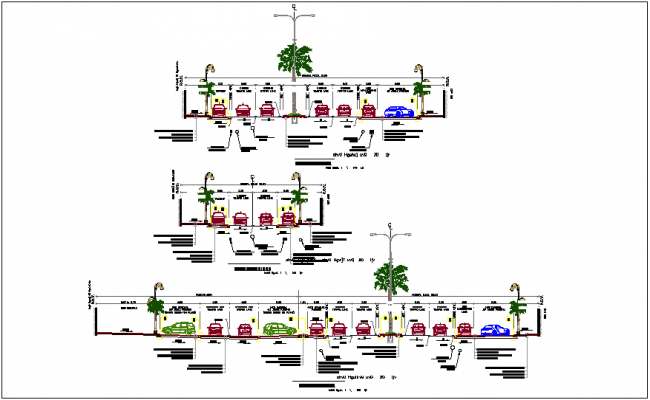 Typical cross section f road design dwg file