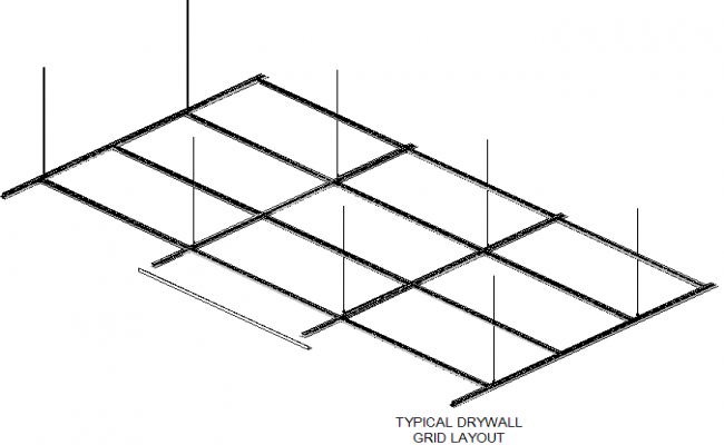 Typical dry wall grid layout detail dwg file