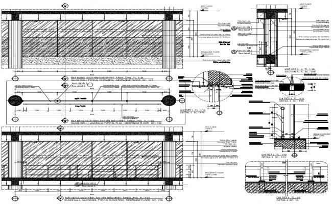 Glass elevation design in DWG file