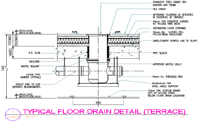 Typical floor drain detail (terrace) dwg file