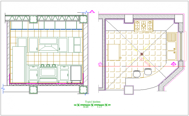 Typical Kitchen Plan With Sectional Elevation For Apartment Dwg File