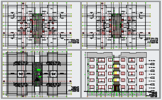 Typical layout plan of apartment building design drawing