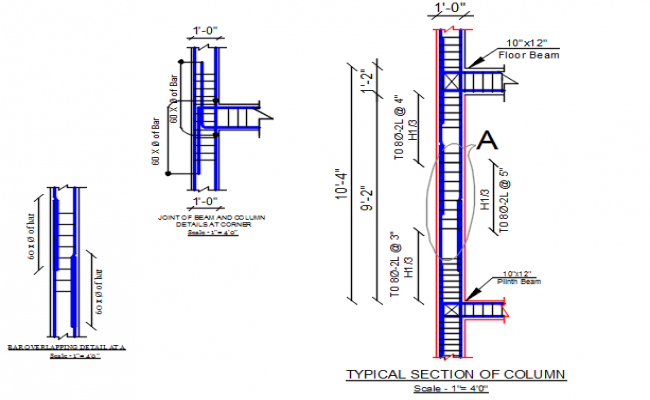 Typical section of column detail dwg file