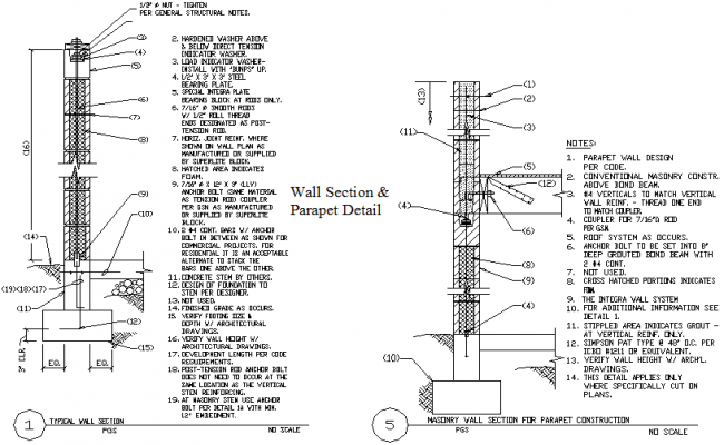 Typical wall section and masonry wall section for parapet construction detail dwg file