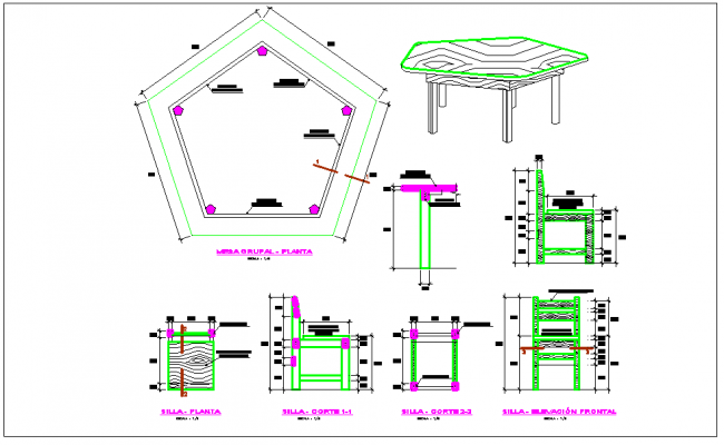 Typical wooden furniture chair and table detail dwg file