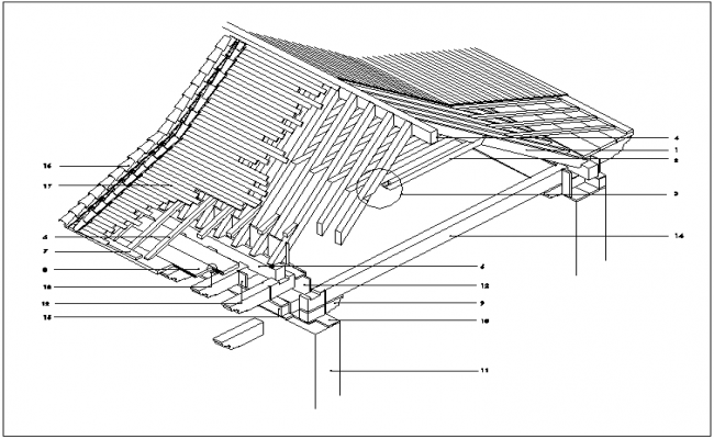 Typical Wooden Roof Structure Isometric View In Detail Dwg
