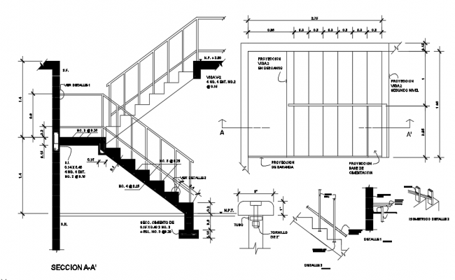 U Shaped Staircase Dwg File.