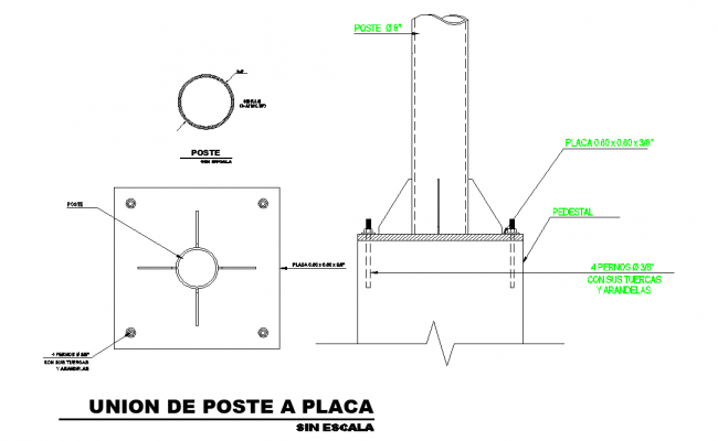 Union from pole to plate detail dwg file