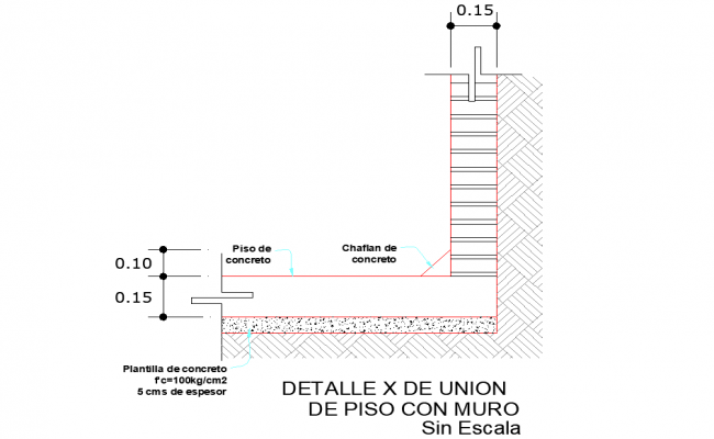 Union of floor with wall dwg file