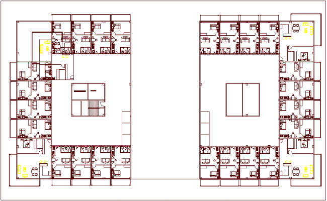 Unit 1 and 2 building plan design dwg file