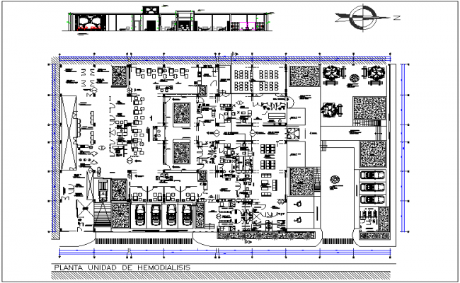 Unit plan of  hem dialyses hospital with elevation view dwg file