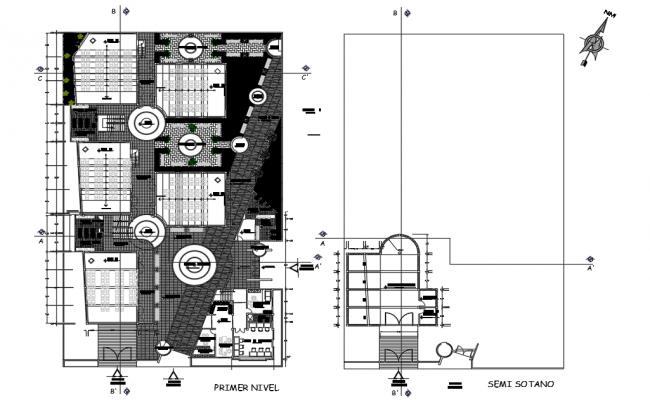University basement floor and ground floor plan detail dwg file