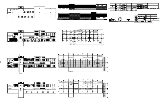 University building detail elevation and plan 2d view layout dwg file