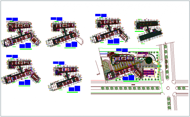 University campus plan view, door & view with its schedule dwg file