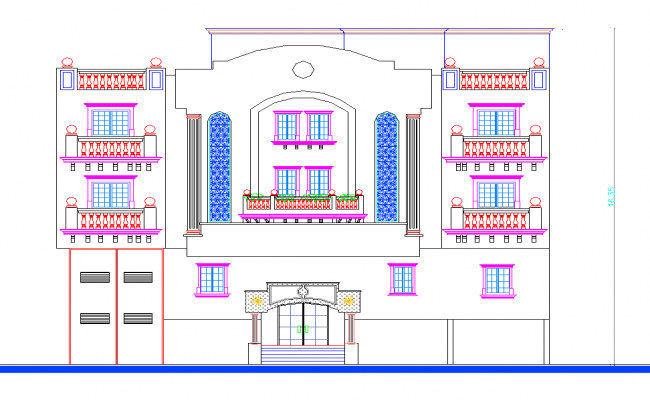 University elevation view dwg file