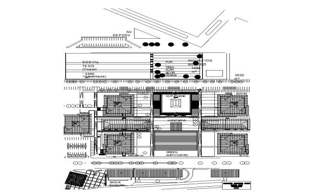University library building detail 2d view CAD structural block layout autocad file