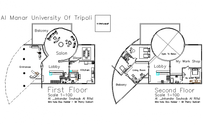 University plan detail dwg file