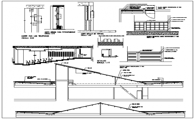 University plan detail view and structure detail dwg file