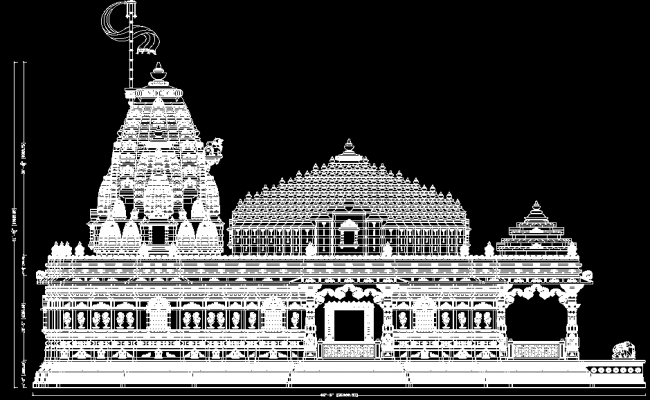 Plan Elevation Section Of Mosque : Temple side elevation