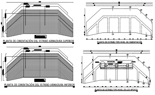 Upper and bottom abutment footing foundation plan detail dwg file