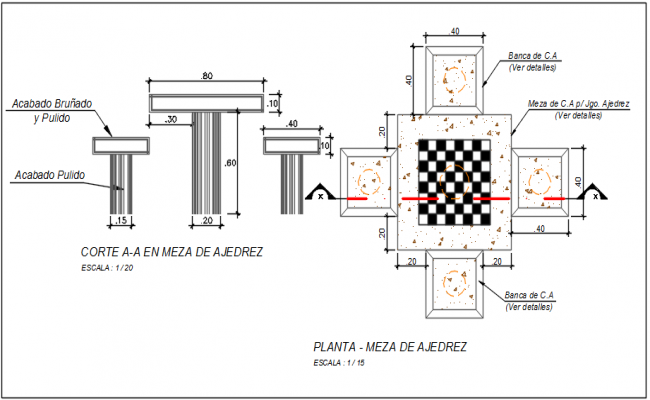 Upper view detail in the dimension and naming detail dwg file