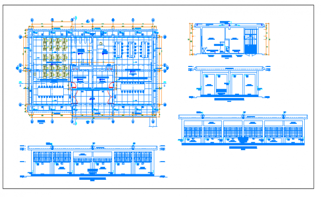 Urban college elevation, section and plan details dwg file