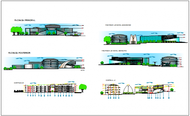 Urban cultural center elevation and sectional details dwg file