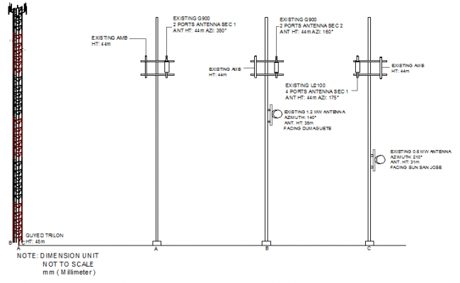 Urban electric tower installation with leg details dwg file