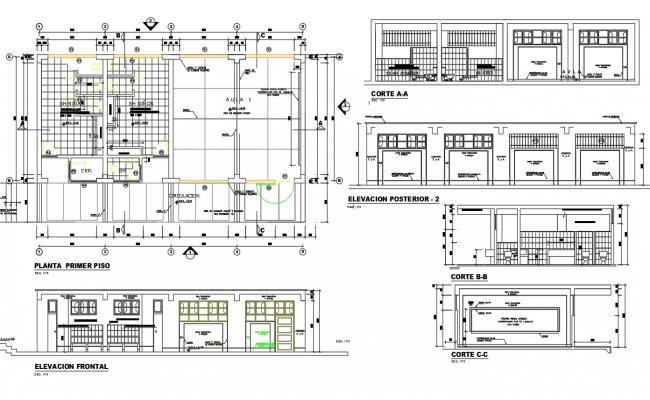 Urban school architecture project details dwg file