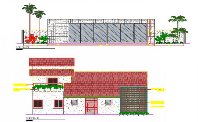Urban school front and back elevation details dwg file