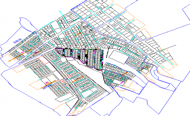 Urban town planning map with traffic lights and roads dwg file