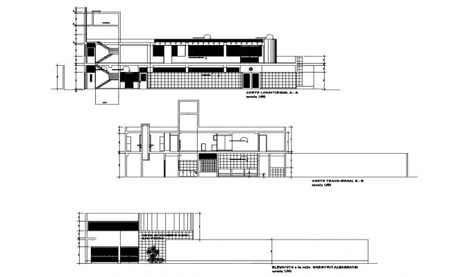 Urban two-level clinic elevation and section cad drawing details dwg file
