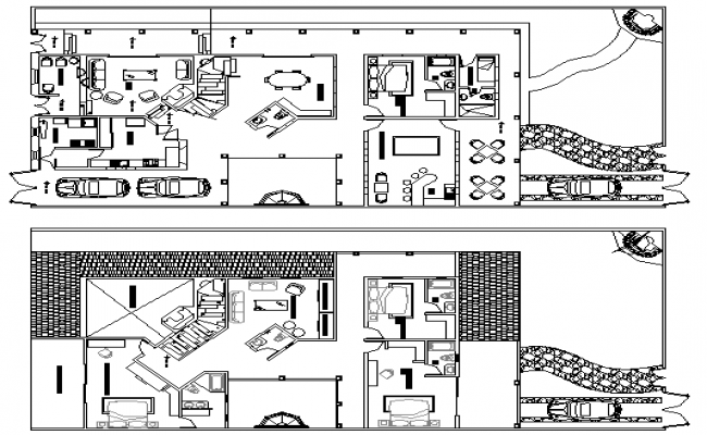 Urbanization Colonial Architecture Layout and Elevation dwg file
