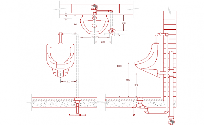 Urinal basin detail drawing file