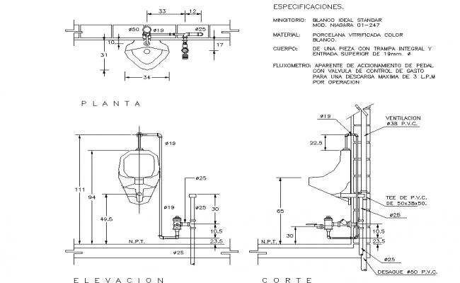 Urinal Elevation Detail Dwg File
