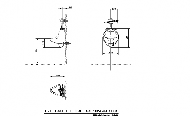 Urinal front sectional detailing