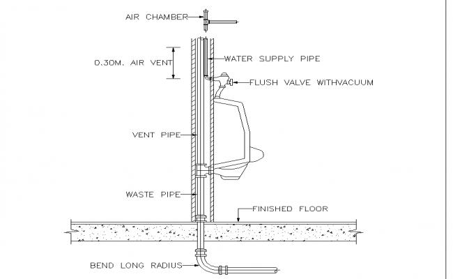 Urinal plan detail dwg file.