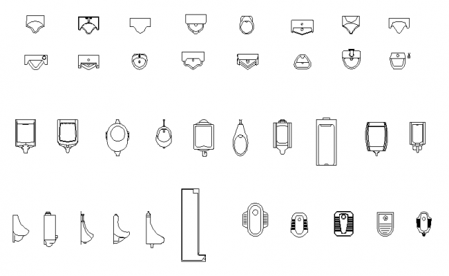 Urinals collection dwg file