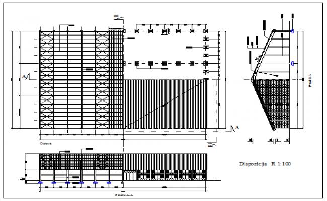 Utilitarian building design drawing