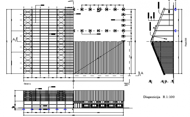 Utilitarian multi-purpose corporate building dwg file