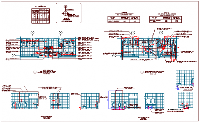 Utility building plan view with plumbing detail view dwg file