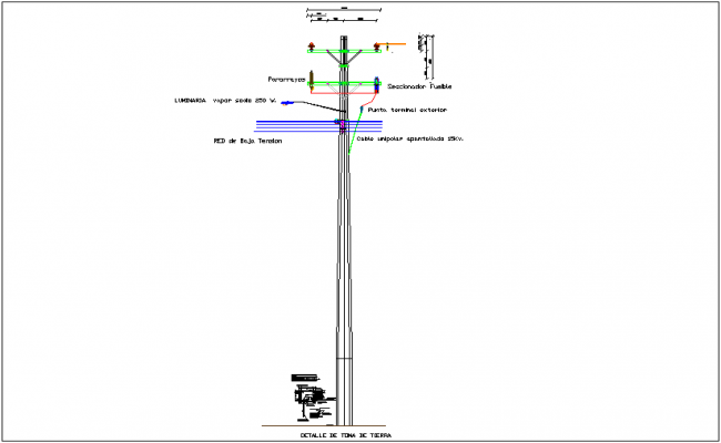 Utility tower one phase mounting structure dwg file