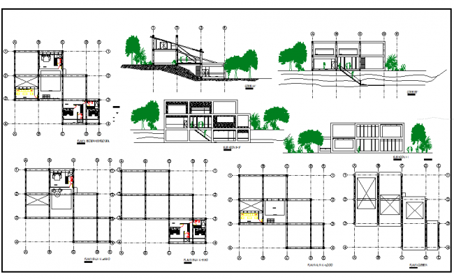 Vacation Home Plan and Elevation dwg file