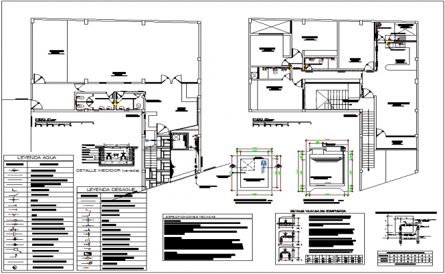 Valve installation view with sanitary view of first and second floor plan for housing area dwg file