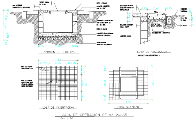Valve operation box plan and section layout file
