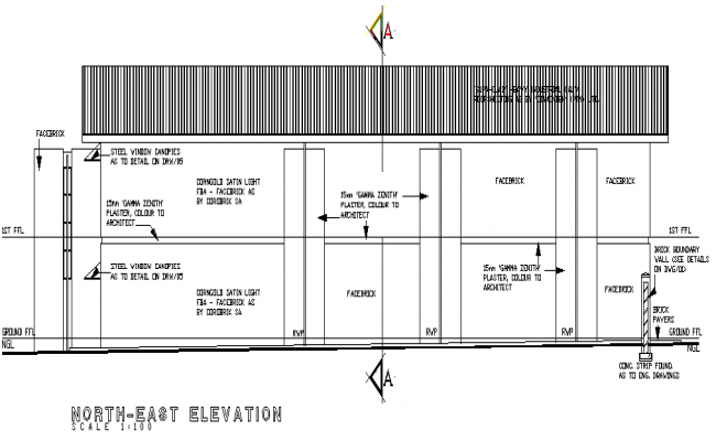 Various direction of building elevation