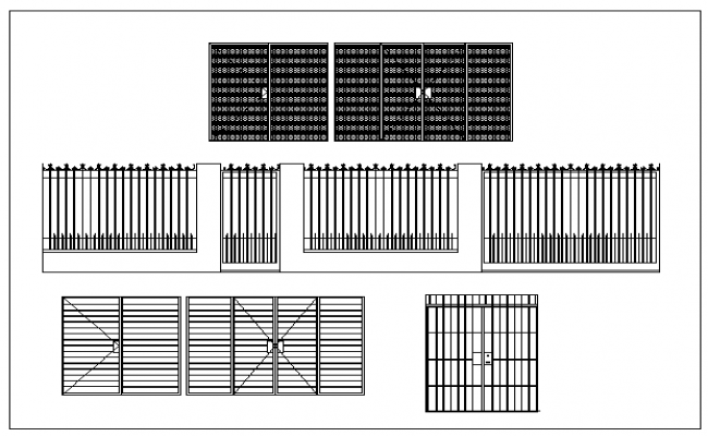 Various styles of wrought iron security gates design drawing
