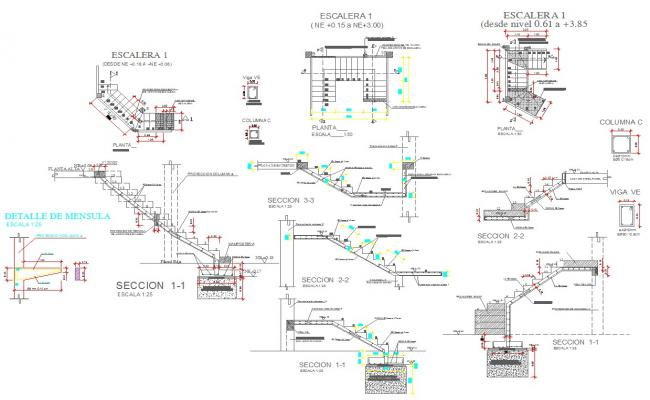 Various type of staircase design and detail cad files
