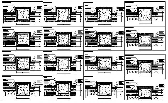 Various types Break of thermal bridges design drawing